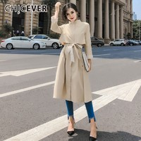 CHICEVER Spring Autumn Female Dresses For Women Stand Collar Wrist Sleeve High Waist Bow Lace Up Midi Dress Elegant Clothes Tide