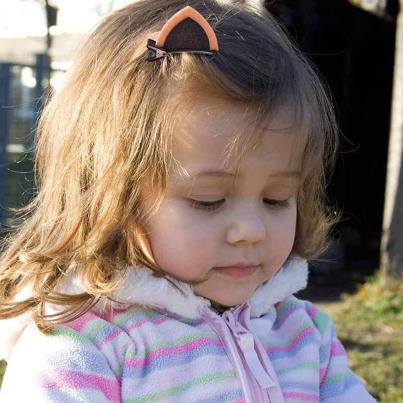 Broches para el cabello bonitos brillo de niña lentejuelas orejas de gato niños aleación horquilla 2 unids/set de moda princesa encantadora Mini orejas de gato brillante Duckbill
