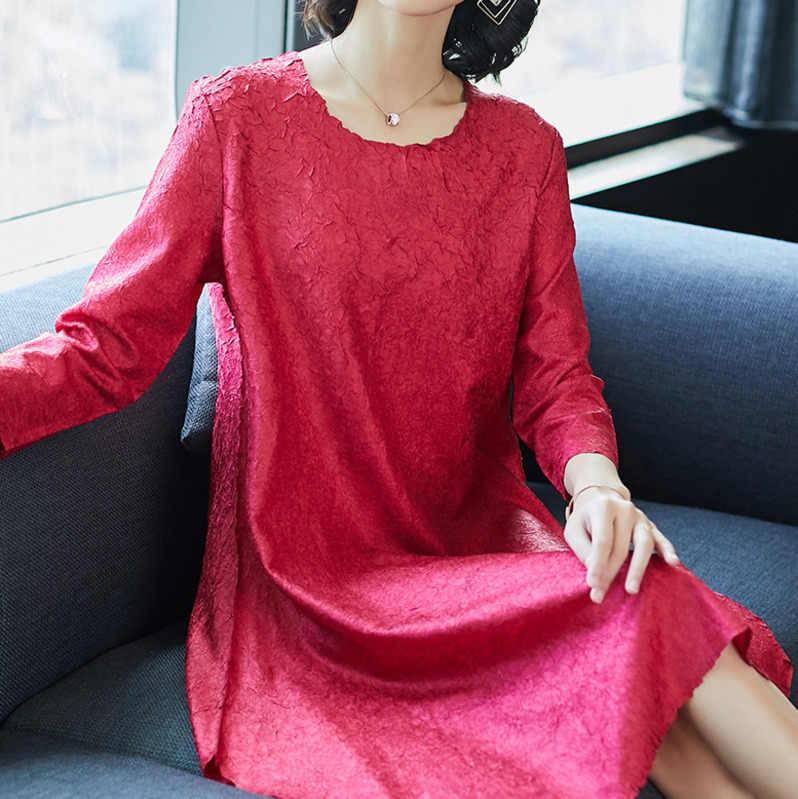 LANMREM 2019 Spriong летняя Высококачественная плиссированная одежда для женщин темперамент свободные повседневные женские платья Robe Femme NA905
