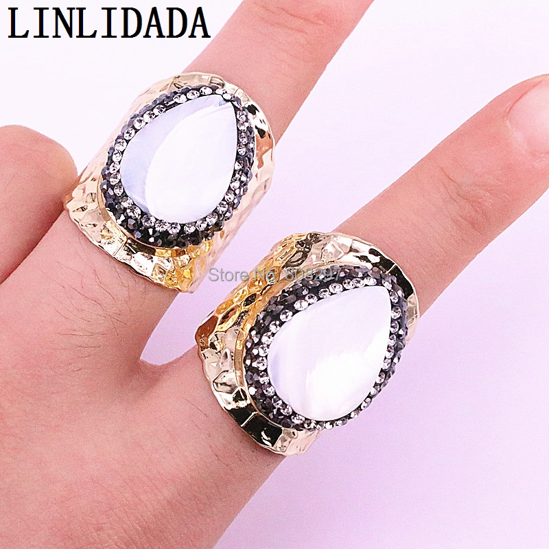 5Pcs Nature White Shell Women Rings Pave Crystal Zircon Charm Gold Color Metal Jewelry Finger Rings
