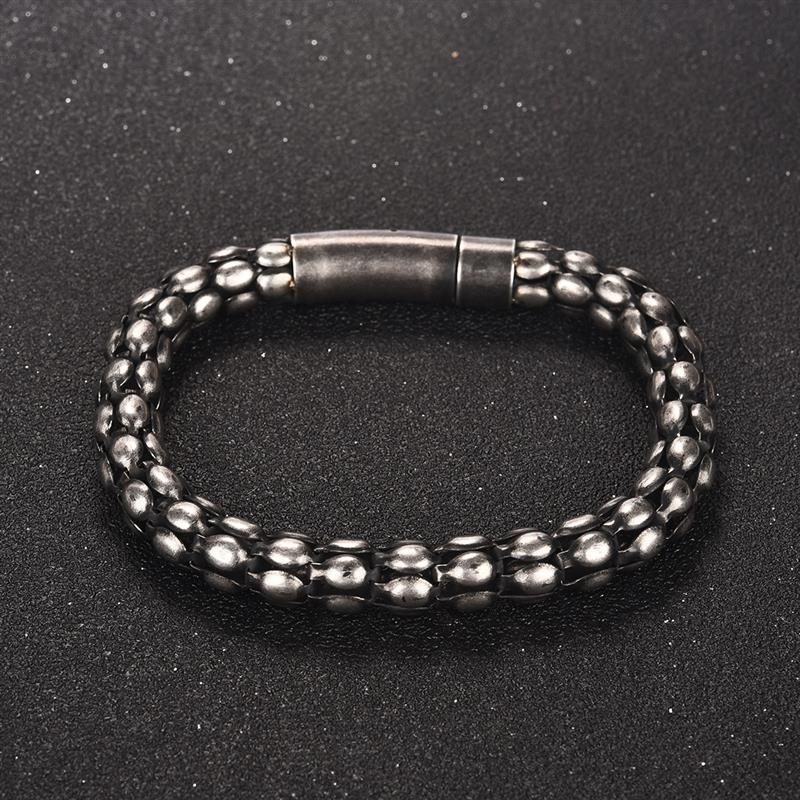 Gothic Wheat Chain Bracelet For Men Hip Hop Stainless Steel Wristband Retro Rock Male Jewelry Hand Accessories Christmas Gifts