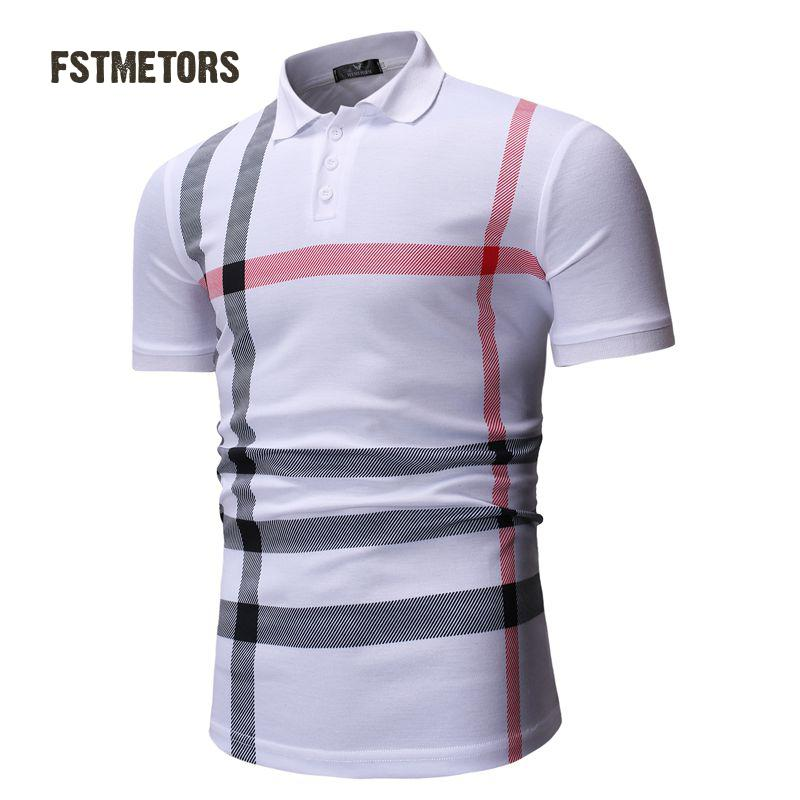 2018 Men's   Polo   Shirt Fashion Casual Contrast Anti-shrink Print Slim Personality Short Sleeve Sports   POLO   Shirt