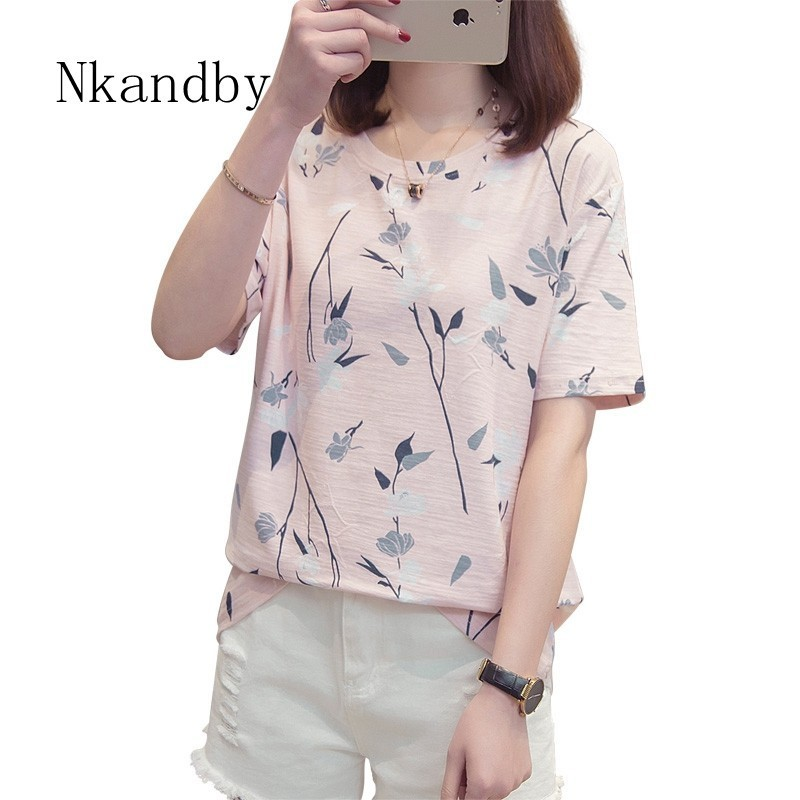 Nkandby Plus Size Women T-shirt 2019 Summer Clothing Casual Loose Half Sleeve Woman Top Bamboo Cotton Feminine Large Tshirt Tees