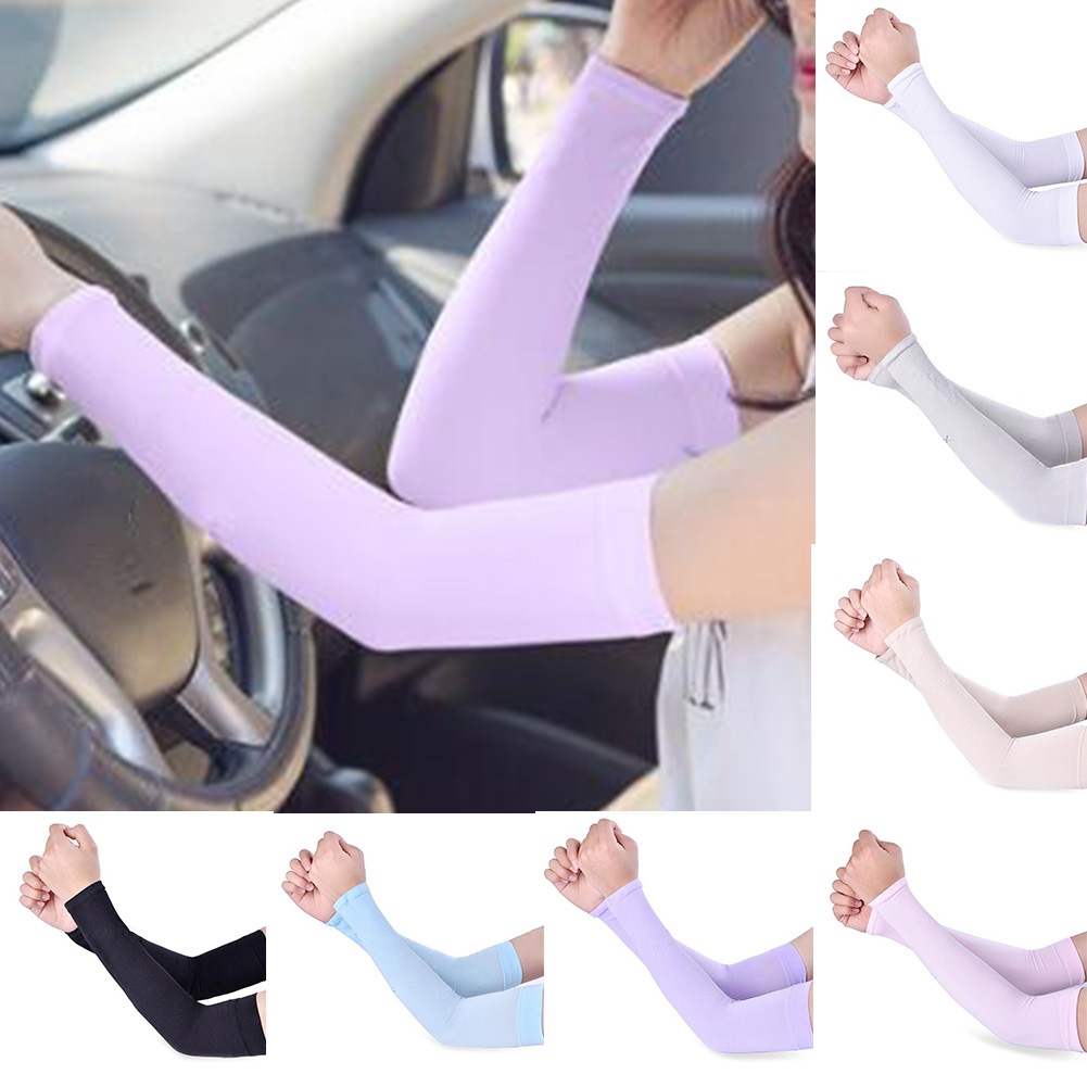 1 Pair Men Women Arm Warmers Summer Solid Color Arm Sleeves Sun UV Protection outdoor Drive Sport Travel Arm Warmers Arm Cover