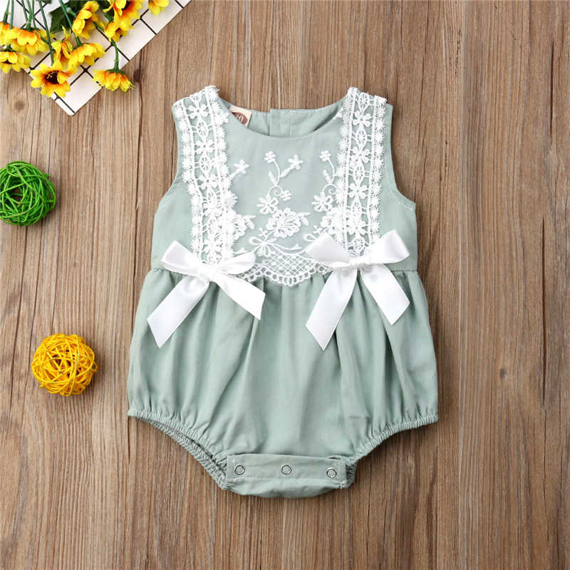 Baby Girl Bodysuit Sweet Toddler Baby Girl Summer Lace Bodysuit Sleeveless Bow Spring Solid Color Jumpsuit Sunsuit Baby Clothes