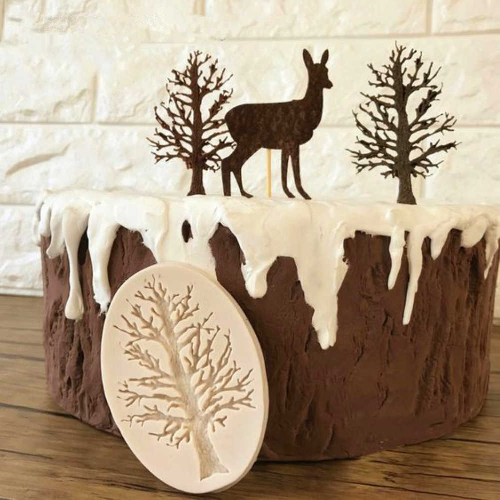 1pc Creative DIY Cake Liquid Mould Tree Frame Mold Fondant Silicone 3D Chocolate Sugarcraft Mold Decorative Tools For Christmas