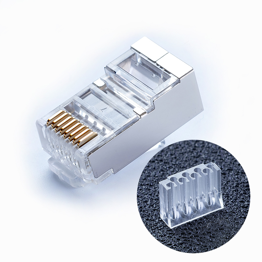 Image 5 - xintylink blue rj45 connector cat6 rj 45 ethernet cable plug 8P8C cat 6 metal shielded network stp modular keystone jack 50pcs-in Computer Cables & Connectors from Computer & Office