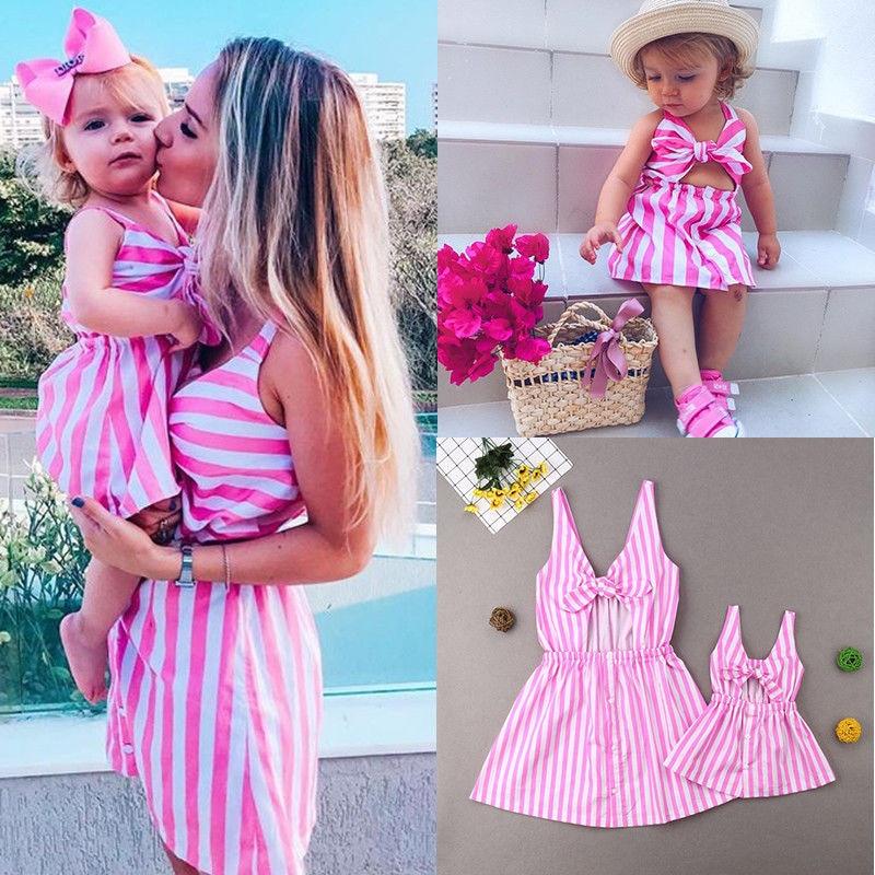 Mother Daughter Summer Striped Dress Family Matching Women Kid Girls Clothes Sleeveless Strap Bowknot Knee-Length Beach Dress