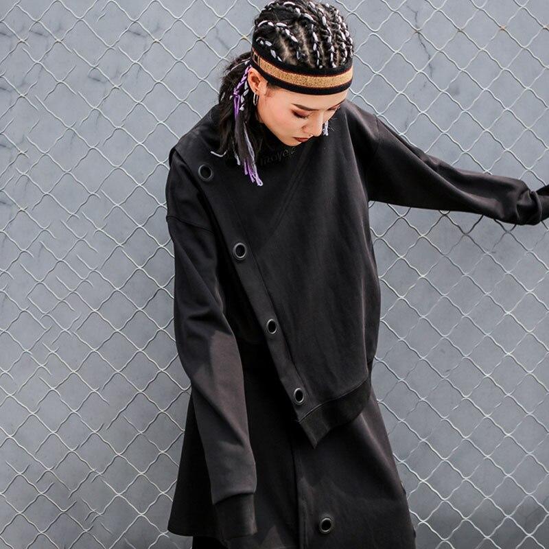 LANMREM 2019 New Fashion Round Collar Full Sleeve Patchwork Hole Causal Sweatshirt Female's Casaco Feminino Tops Vestido YE35201
