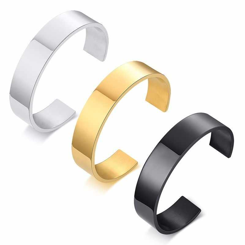 Men's Free Personalized Engraving Cuff Bracelets Bangles for Women Stainless Steel Unisex pulseira Bijoux