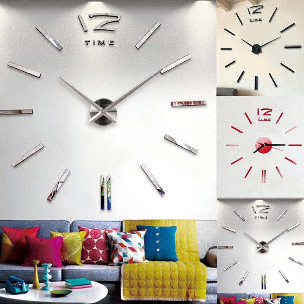 Beautiful Modern Mirror Wall Clock Home Living Room Office Decor DIY 3D Acrylic