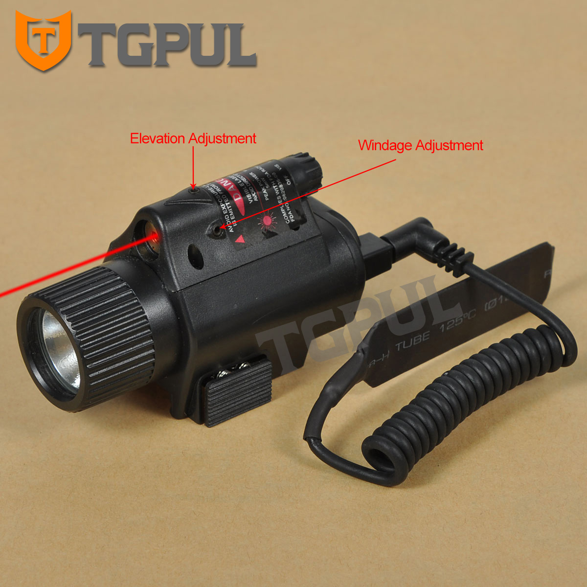TGPUL Tactical Combo 2 In 1 Tactical LED Flashlight Red Laser Sight Combo For 20MM Rail Pistol Mini Glock Pistol Gun Light
