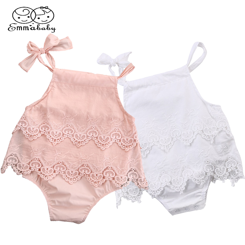 Newborn Baby Girls Sleeveless   Rompers   Jumpsuit Crochet Lace Ruffle solid Infant baby Summer Clothes outfits