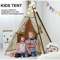 Dog Pet Tents 2 Sizes Supplies White Canvas Teepee House Bed Cat Bed Pet House Portable Dog Tent Beds