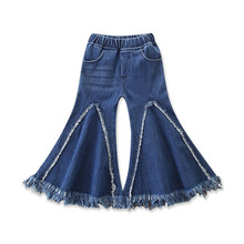 цена на VTOM Children Toddler Girls Pants Kids Flare Tassel Denim Clothes for Baby Jeans Pants Fringed Denim Trousers