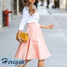 Summer Skirts Women Pink Casual Elastic High Waist  A-Line Ladies Elegant Size S-XXL