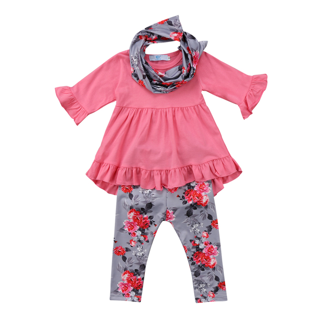 Emmababy 3pcs Clothes Long sleeve Ruffle Tops Floral Pant