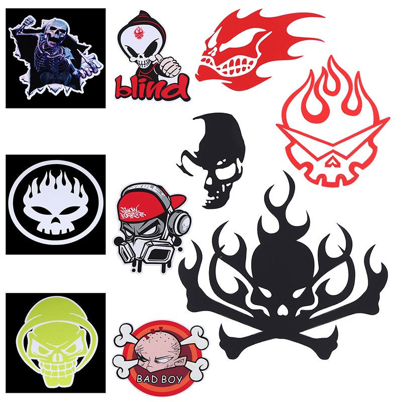 1x 3D Skull Devil Vinyl Car Motorcycle Stickers Skull Logo Emblem Badge Car Boat Truck Window Accessories Decoration Стикер