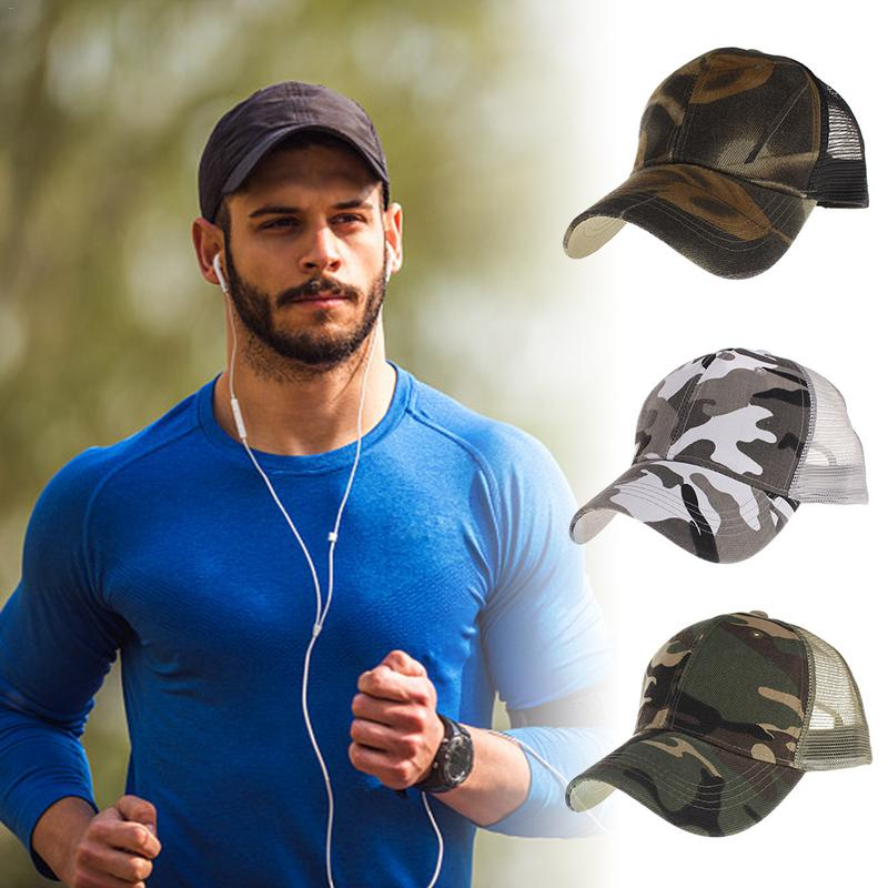 Men Sun Hat Spring Summer Camouflage Mesh Cap Breathable Baseball Cap Snapback Hip Hop For Men Women Outdoor Mountaineering Cap