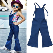 6fd6e482547e 2019 Fashion Toddler Kid Baby Girl Sleeveless Strap Backless Denim Romper  Jumper Bell Bottom Overalls Summer