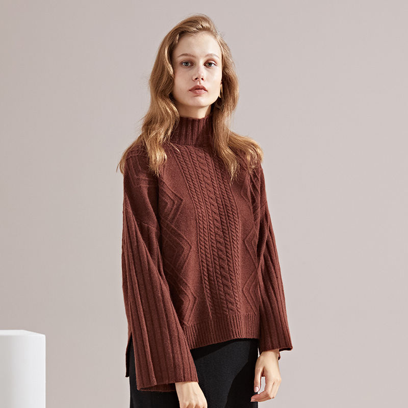 New knitting sweater 2018 autumn and winter Euramerica turtleneck twist striped cashmere sweater women winter 3125