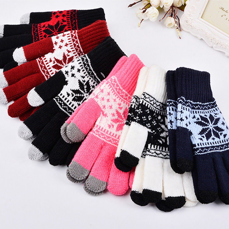1pair Soft Winter Warm Gloves Mittens Men Women Touch Screen Gloves Texting Capacitive Smartphone