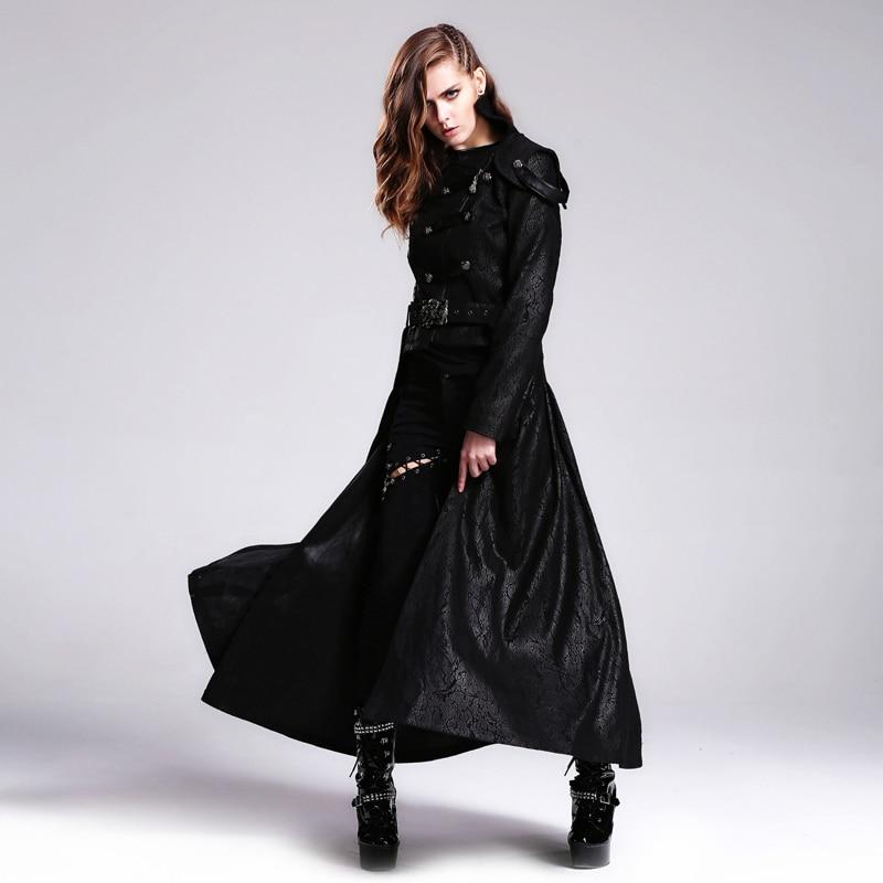 Ďábel módní steampunk vintage ženy odnímatelné dlouhé a krátké bundy kabáty černé ležérní větrovky dámské punkové hezké bundy