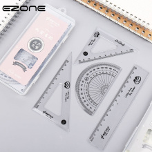 купить EZONE Student Rulers Set Triangular Rule Protractor Creative Transparent Plastic Ruler Student Precision Scale Transparent Ruler по цене 135.96 рублей