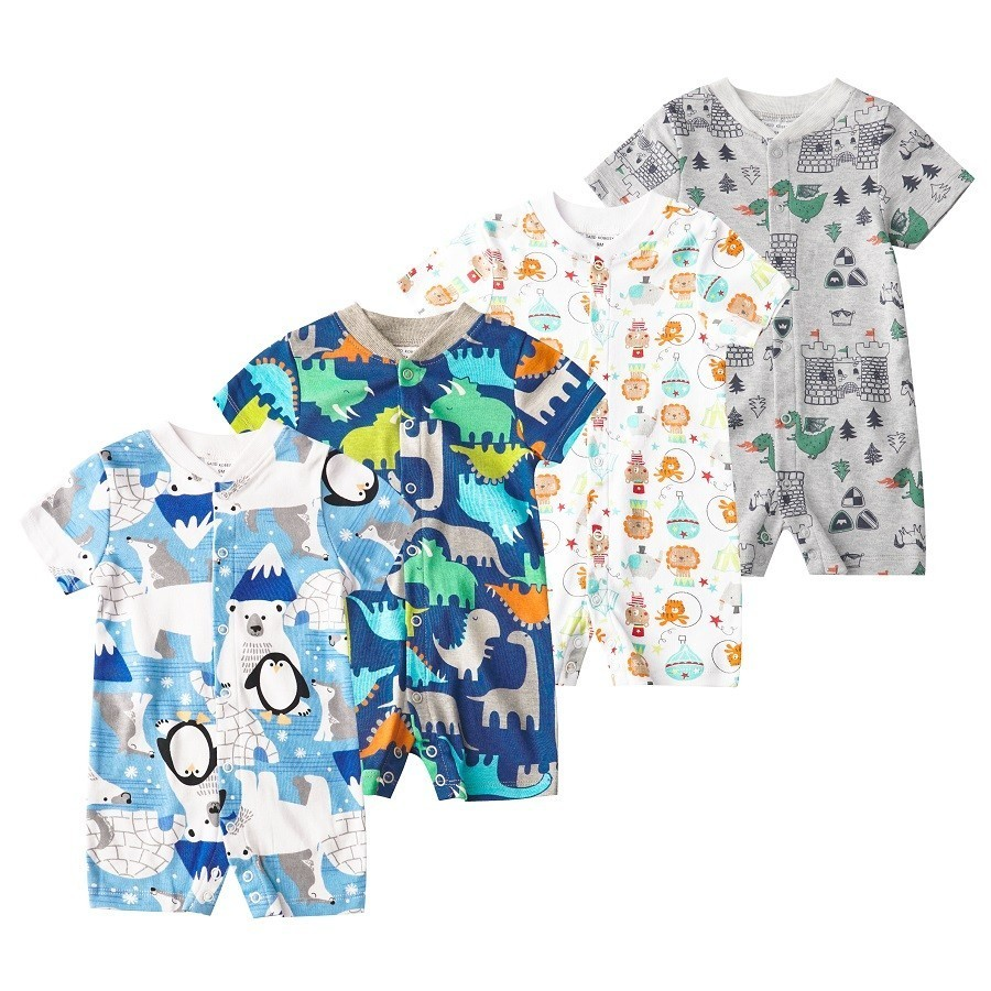 Newborn Baby   Rompers   Infant Crawling Short Sleeve Cotton JumpsuitBaby Pajamas Flower Clothes For Boy And Girl DP002