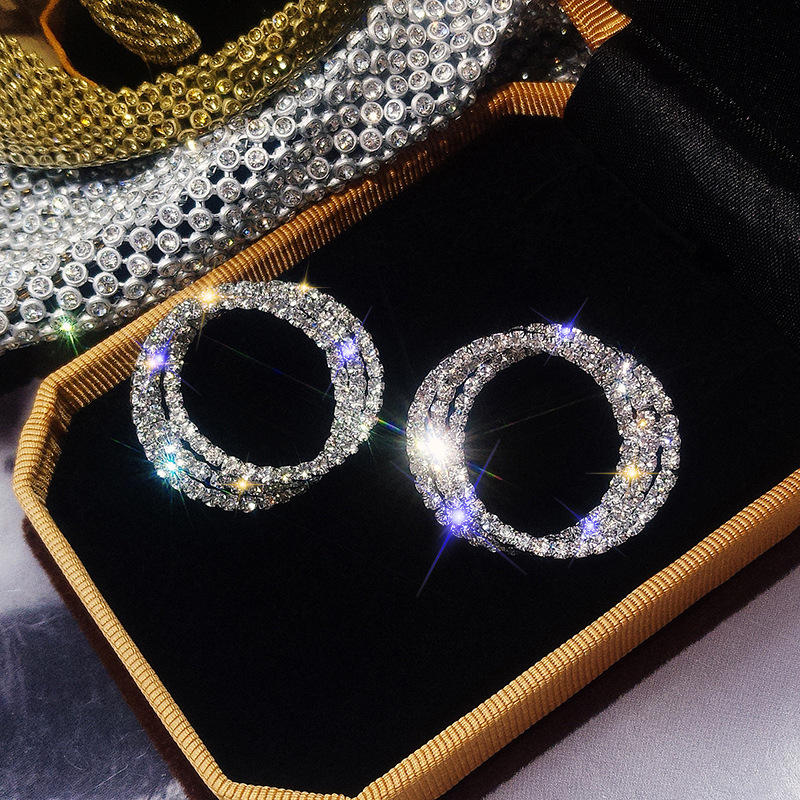 FYUAN Fashion Korean Style Small Circle Stud Earrings Luxury Gold Silver Color Rhinestone Earring Women Weddings Party Jewelry(China)
