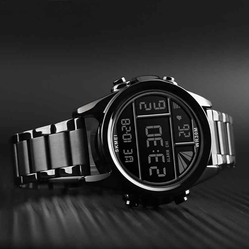 SKMEI Fashionable Steel Belt Electronic Watch For Men reloj de la marca de lujo Innovative Style 2019 New Arrival