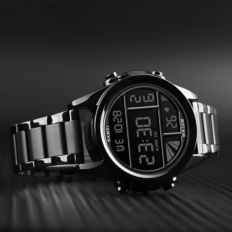 Skmei moda cinto de aço relógio eletrônico para homem reloj de la marca de lujo estilo inovador 2019 nova chegada