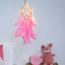 Home Decoration Dream Catcher Night Light Feathers Wall Hanging
