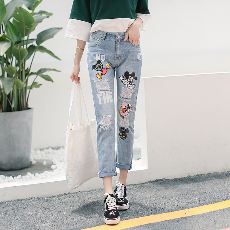 Printed Mickey Mouse Jeans Distressed Ripped Boyfriend Jeans For Women Plus Size Destroyed Jeans Denim Harem Pants Youth Female
