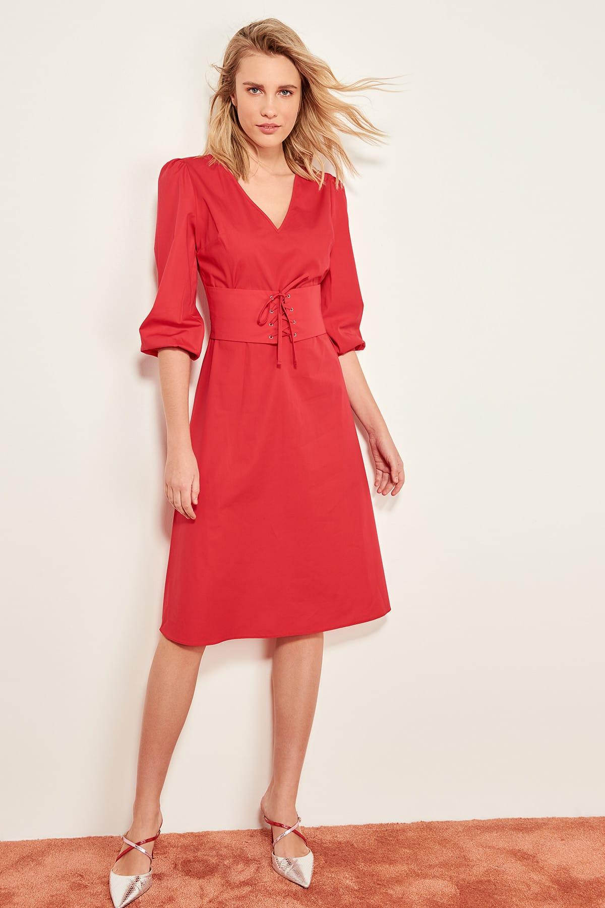Trendyol Detailed Dress Red Belt TWOSS19LJ0073
