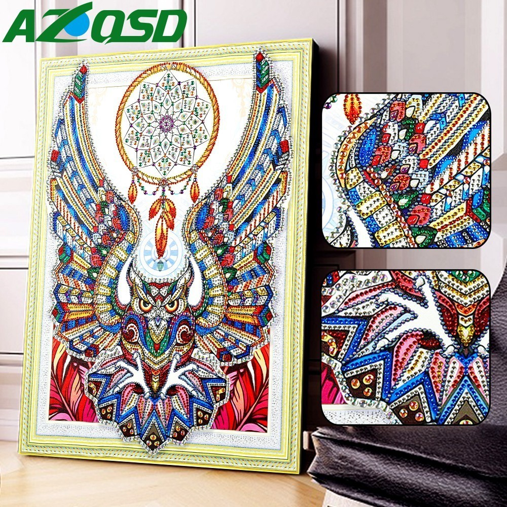 AZQSD Special Shaped 5D DIY Diamond Painting Owl Picture Of Rhinestones Dream Catcher Diamond Embroidery Animals 40x50cmAZQSD Special Shaped 5D DIY Diamond Painting Owl Picture Of Rhinestones Dream Catcher Diamond Embroidery Animals 40x50cm