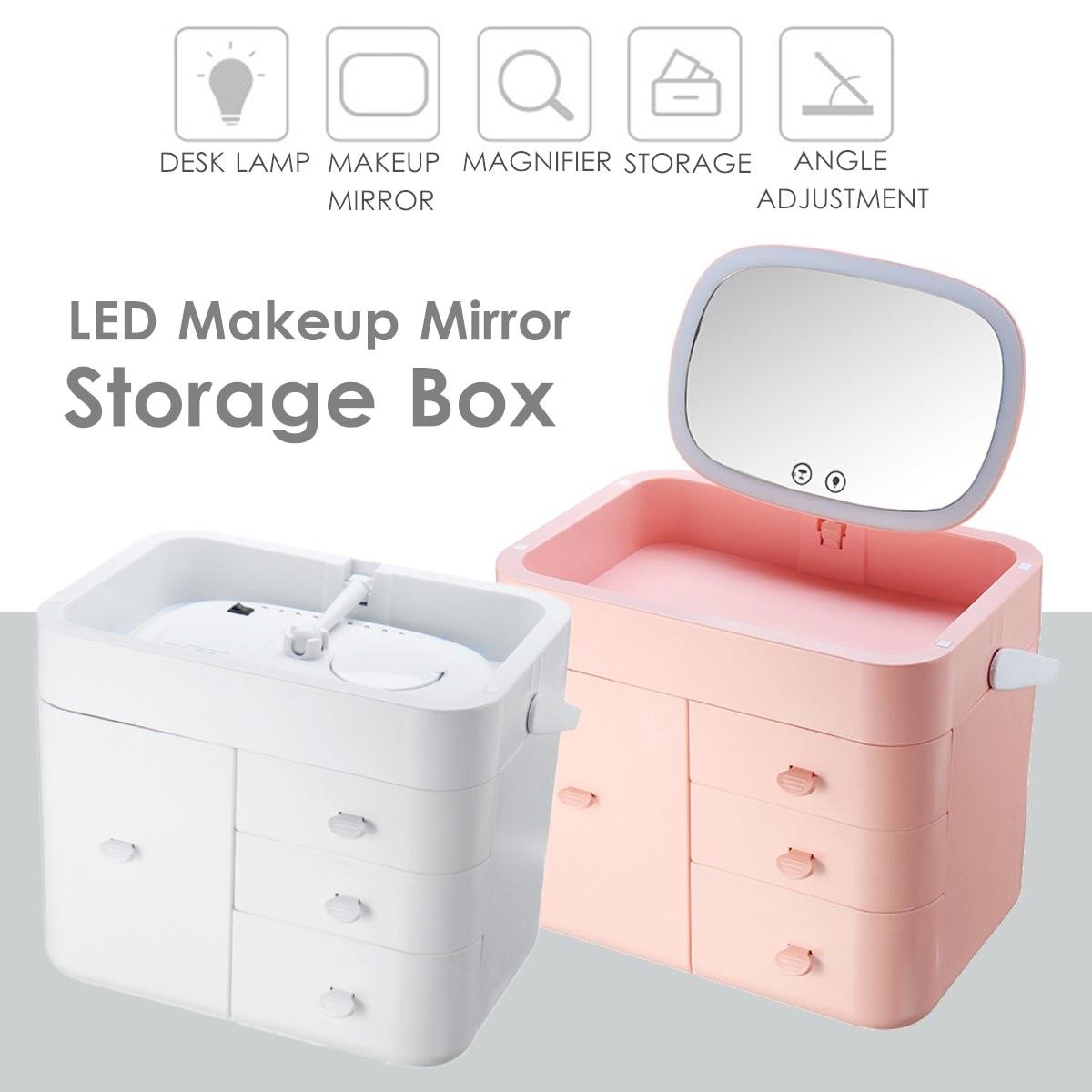 LED miroir cosmétiques tiroir organisateur boîte à bijoux multi-couche multifonction ménage finition boîte en plastique maquillage boîte de rangement