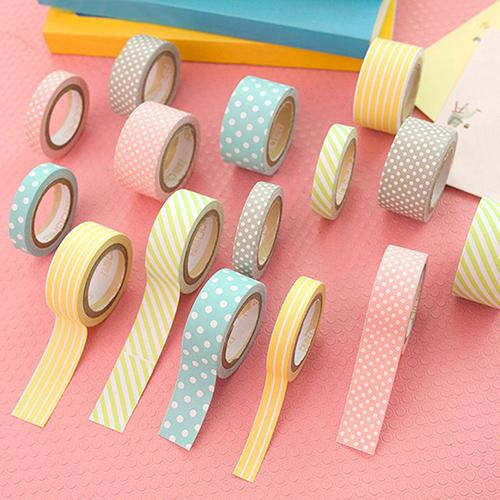 5Rolls Polka Dot Striped Adhesive Washi Tape Set Decoration Tapes Masking Stickers Diary Album Stationery School Supplies