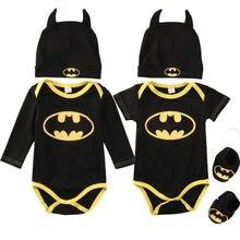 Модный комбинезон с Бэтменом для маленьких мальчиков, хлопковые топы+ обувь+ шляпа, комплект одежды из 3 предметов, Одежда для новорожденных детей 0-24 месяцев