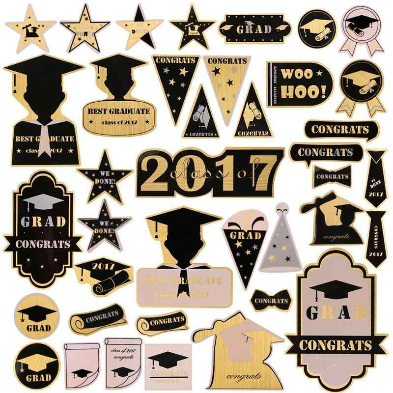 Class of 2017 Graduation Stickers Decal 40 Patterns for Wall Window Scrapbook Album Decoration Party Supplies (Gold)