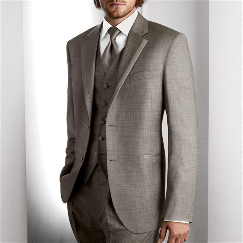 Mais recentes Modelos Casaco Calça Homens Terno Bege Prom Tuxedo Slim Fit 3 Peça Noivo Casamento Ternos Para Homens Blazer Personalizado terno Masuclino - 2