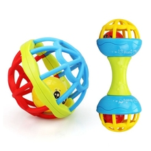 2pcs Baby Rattle Toys Handbells Shake Grab Rattle Rolling Ball Educational Toy for Infant Newborn Toddler (Random Color)