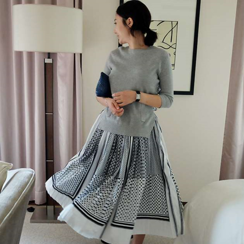 EWQ 2019 Spring Summer Round Collar Warist Sleeve Fake Two Piece Patchwork Japan Style Style