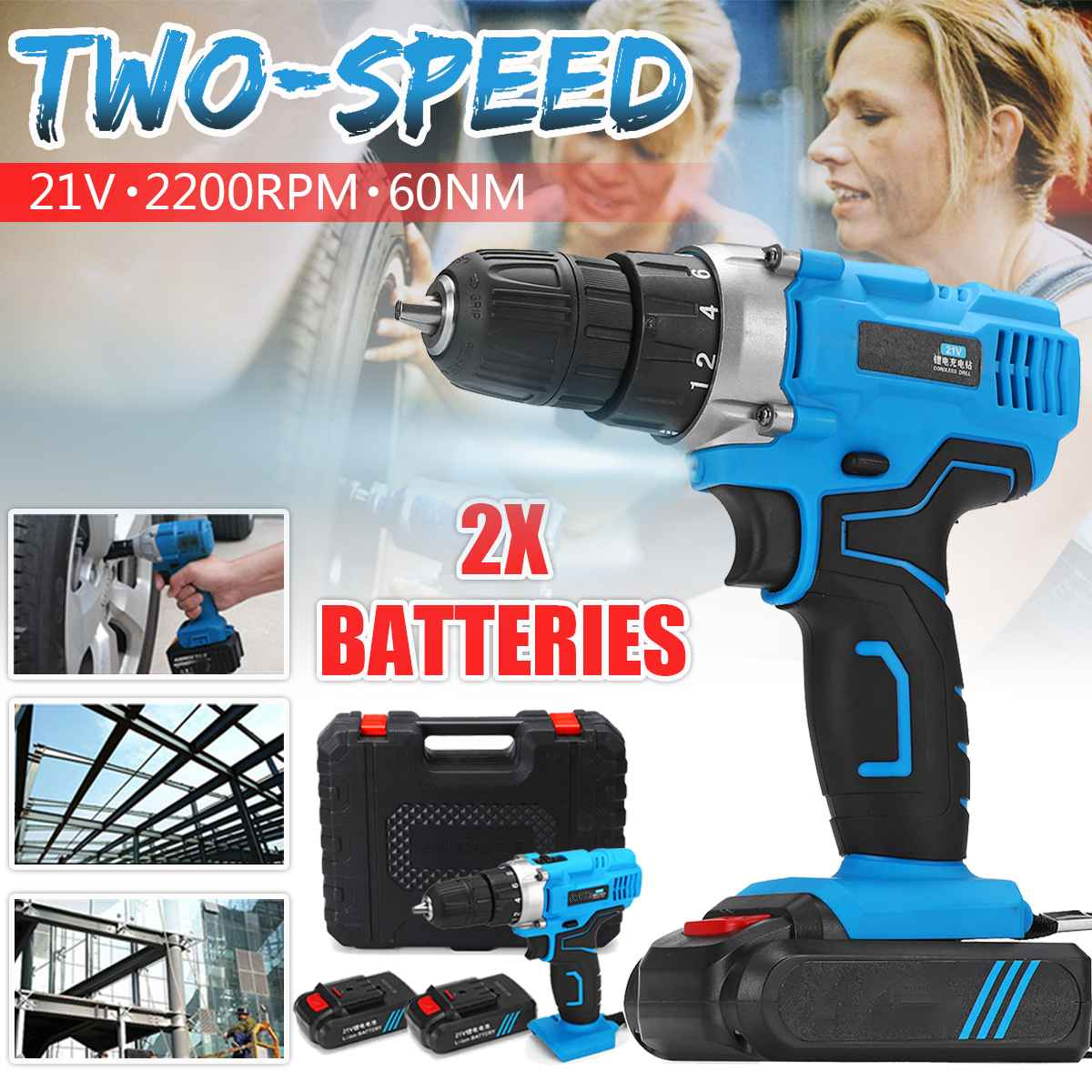 21V Double Speed 2200RPM Electric Screwdriver Kit 220V 2X 6500mAh Li-Ion Battery Rechargable Electric Cordless Drill Power Tool