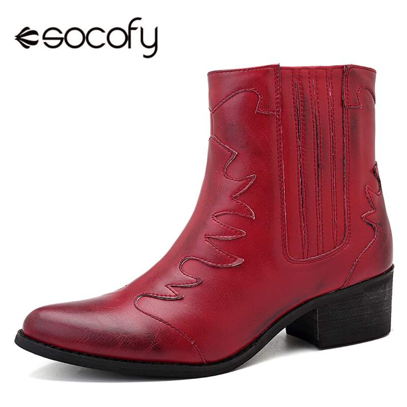 Socofy Autumn Winter Red Cowgirl Women Boots Shoes Woman PU Leather Pointed Toe Zipper Retro Western Ankle Boots Casual ShoesSocofy Autumn Winter Red Cowgirl Women Boots Shoes Woman PU Leather Pointed Toe Zipper Retro Western Ankle Boots Casual Shoes