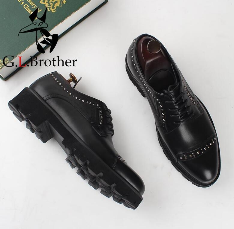 Summer Dress Shoes Men Lace Up Genuine Leather Smart Casual Shoes Platform Rivets Height Increasing Shoes Black Carved Brogue fashion genuine leather brogue shoes men spring new dress shoes formal shoes height increasing platform men shoes hot sale