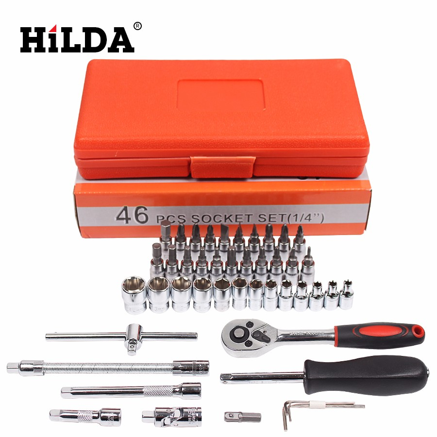 HILDA 46 pcs Car Repair Tool Sets Combination Tool Wrench Set Batch Head Ratchet Pawl Socket Spanner Screwdriver socket set