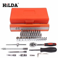 HILDA 46 pcs Car Repair Tool Sets Combination Tool Wrench Set Batch Head Ratchet Pawl Socket Spanner Screwdriver socket set