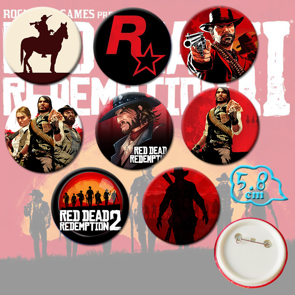 Giancomics Hot Red Dead Redemption 2 Movie Pins Button PVC Cute Cartoon Badges Brooch Chestpin Costume Ornament Accessory Gift