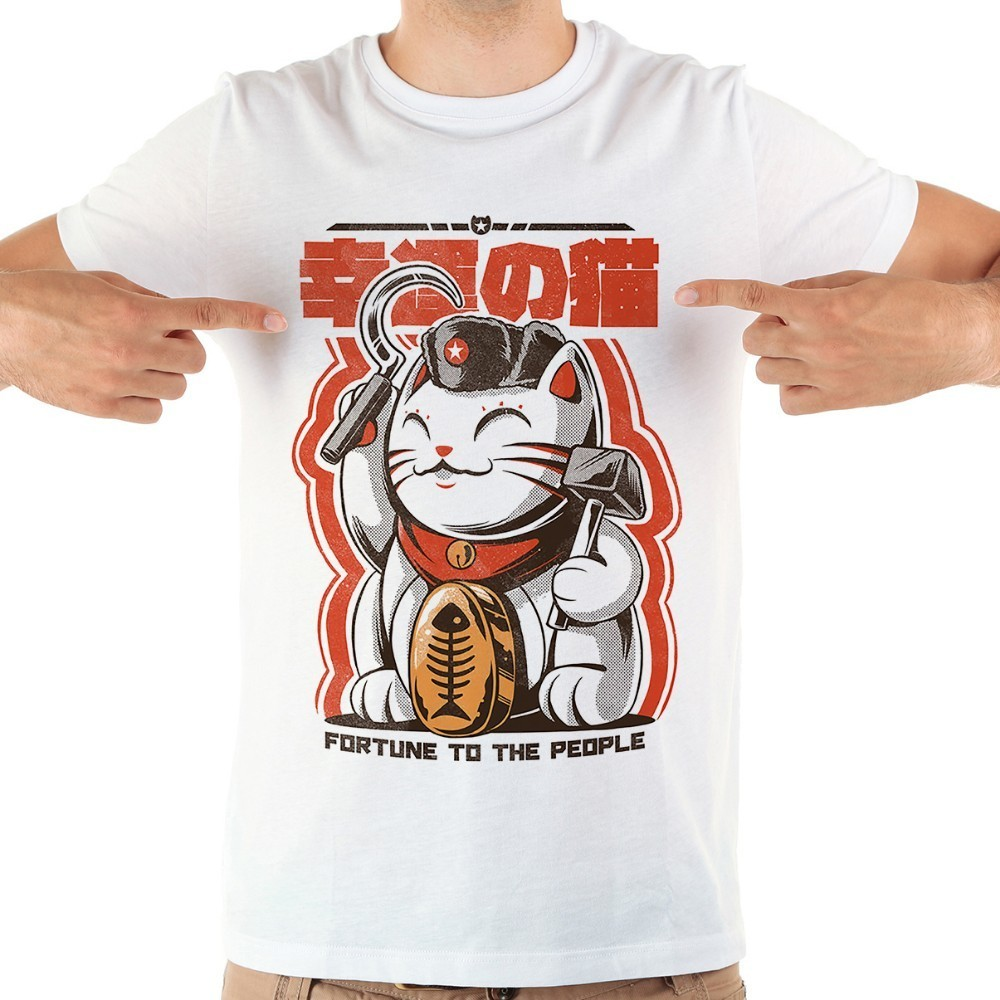 Japan anime communist fortune cat funny   t     shirt   men jollypeach brand 2018 summer new white short sleeve casual homme cool tshirt